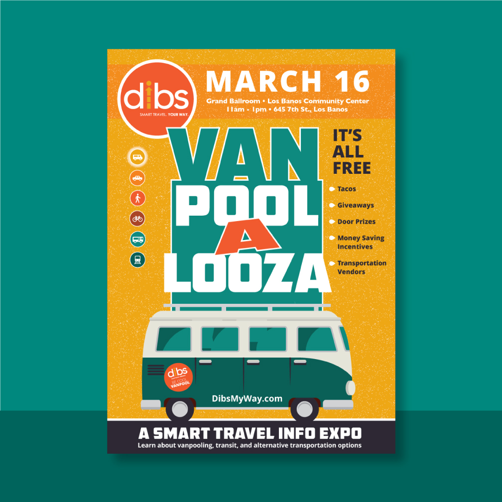 Dibs Van Pool Looza postcard with a van