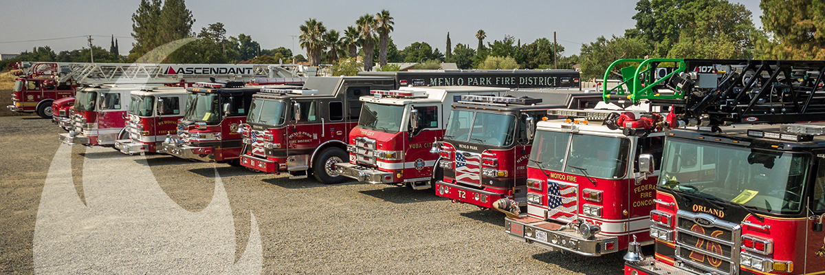 Lined up firetrucks